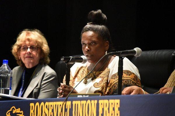 Roosevelt schools Superintendent Marnie Hazelton speaks at a