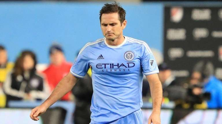 New York City FC's Frank Lampard heads to