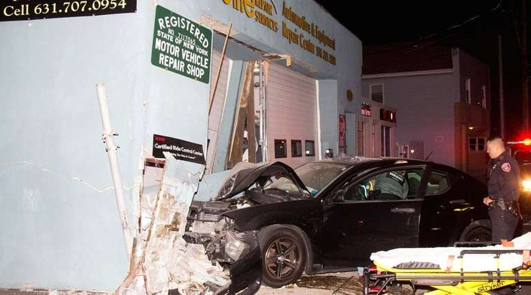 A car crashed into a building on South