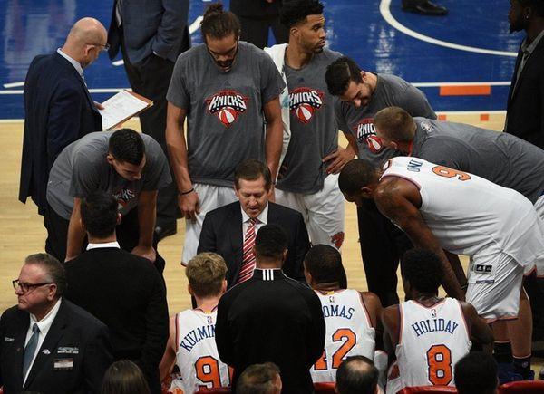 New York Knicks head coach Jeff Hornacek directs