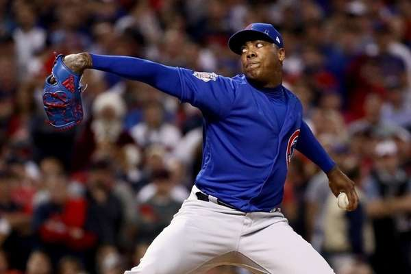The Yankees are interested in free-agent reliever Aroldis