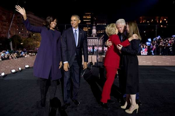 Hillary Clinton, accompanied by first lady Michelle