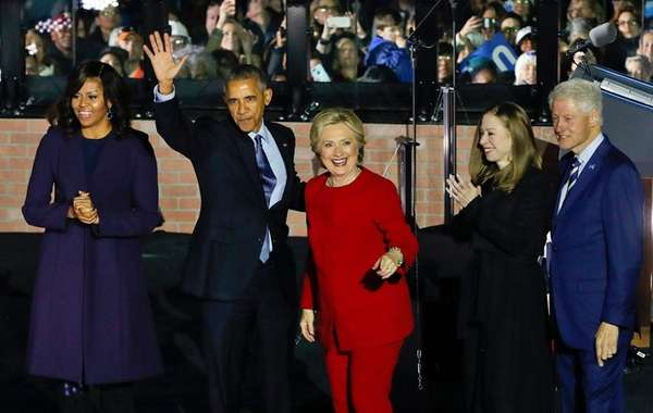 Hillary Clinton, along with her husband, former