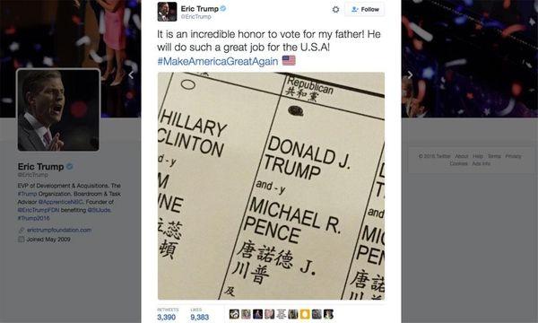 A screen shot of an Eric Trump tweet