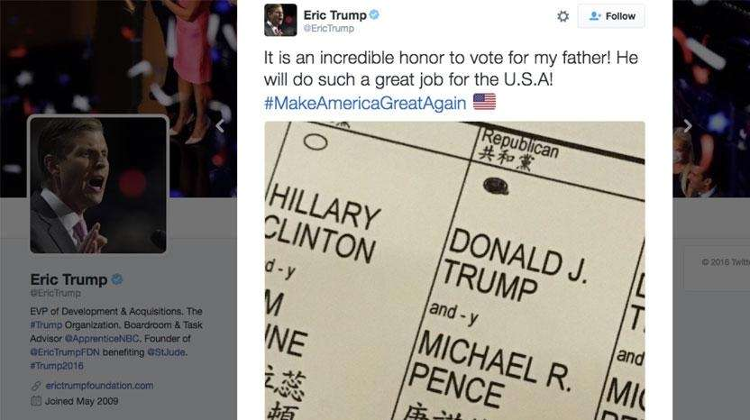A screen shot of an Eric Trump tweet