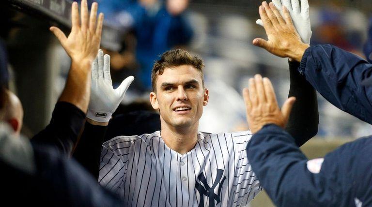 Greg Bird celebrates his seventh-inning home run against