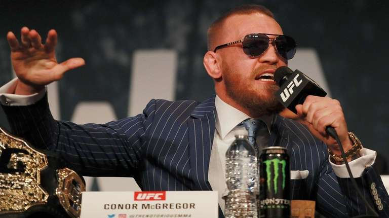 Conor McGregor addresses the media at the UFC