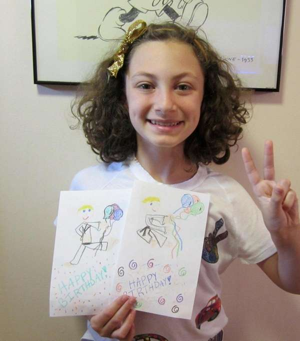 Kidsday reporter Ruby Mattes illustrates her own cards.