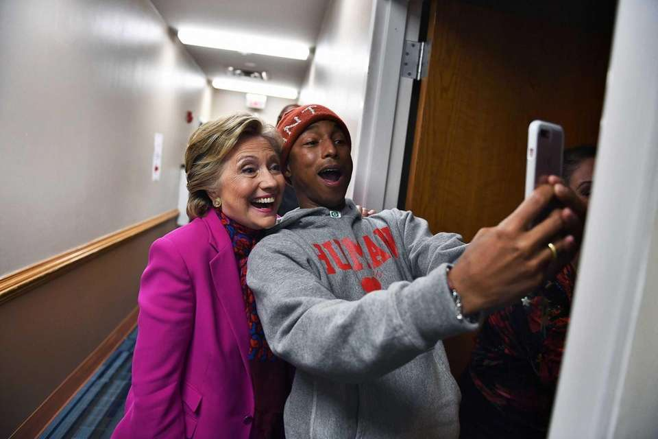 Singer Pharrell Williams and Democratic nominee Hillary Clinton