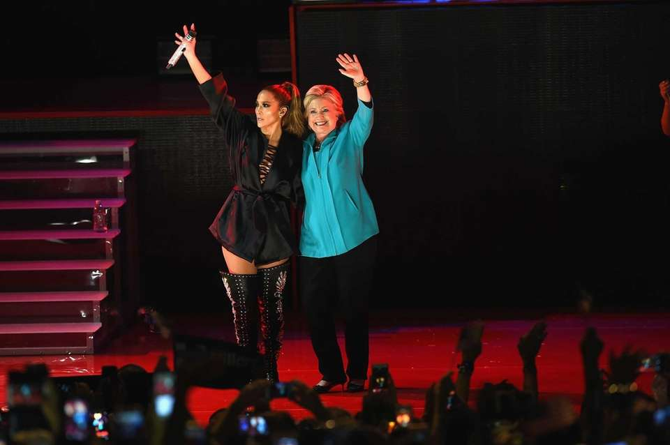 Jennifer Lopez, and Hillary Clinton are seen on