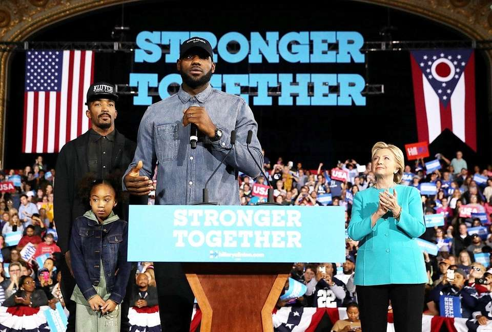 LeBron James speaks during a Hillary Clinton campaign