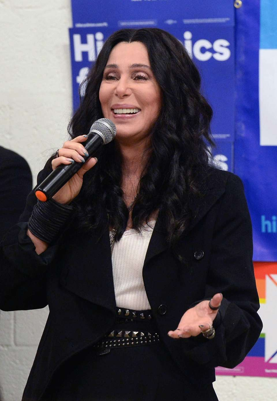 Singer Cher campaigns for Hillary Clinton on Nov.