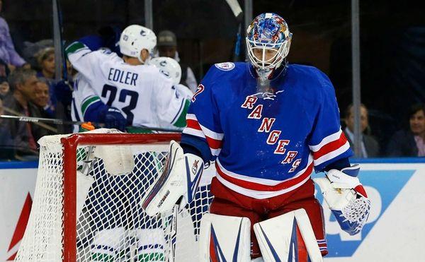 Antti Raanta of the New York Rangers looks