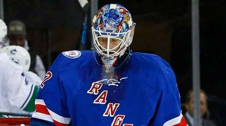 Antti Raanta of the New York Rangers looks