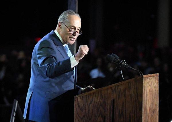 Sen. Chuck Schumer speaks to Hillary Clinton supporters