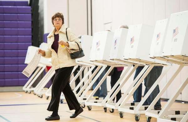 Margaret White of Hampton Bays votes at Hampton