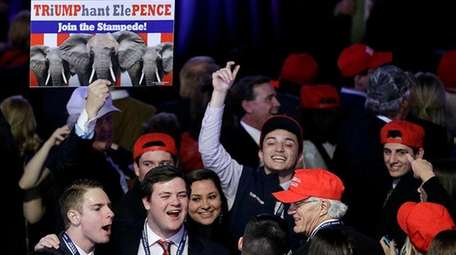Supporters of Republican presidential candidate Donald Trump cheer