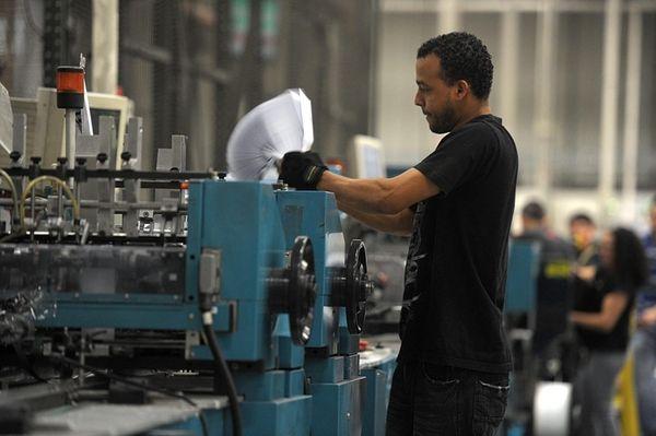 A Broadridge employee works in the Edgewood plant