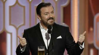 Host Ricky Gervais appears at the 73rd Golden