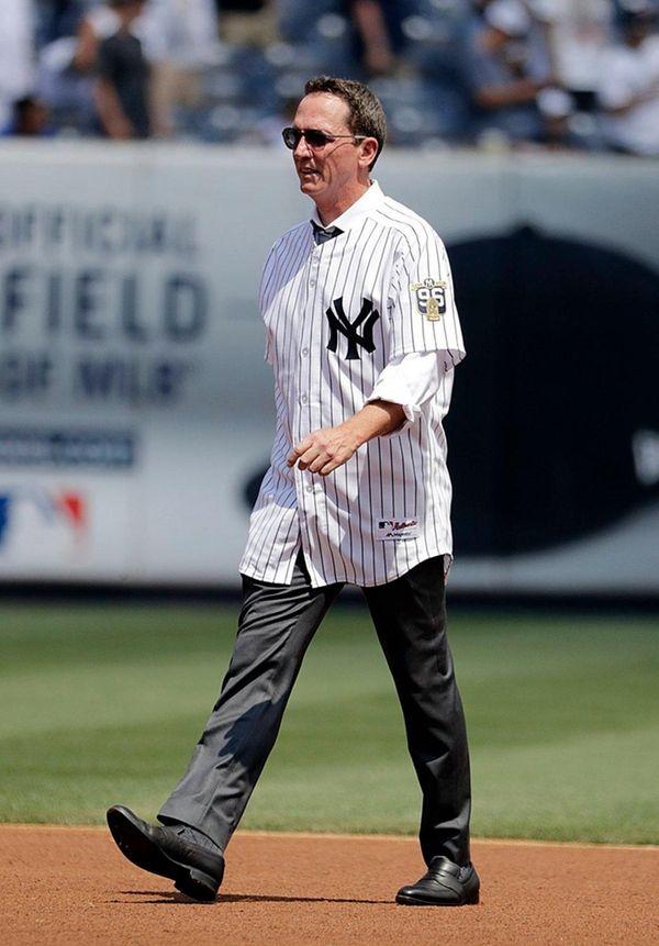 New York Yankees David Cone walks onto the