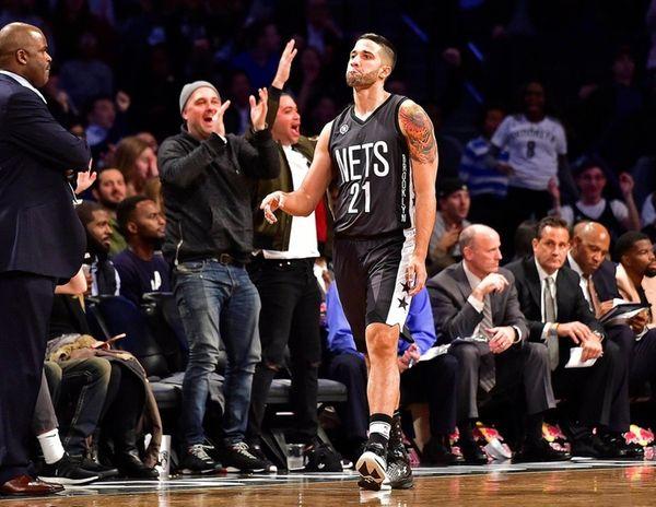 Brooklyn Nets guard Greivis Vasquez reacts after a