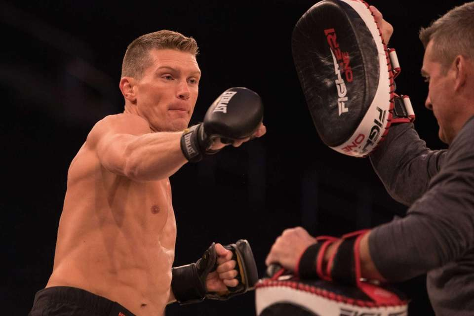 UFC welterweight Stephen Thompson throws a punch during