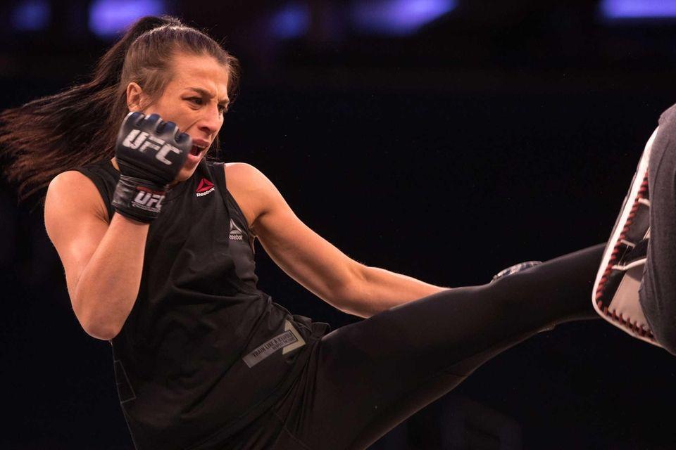 UFC strawweight champion Joanna Jedrzejczyk preps during an