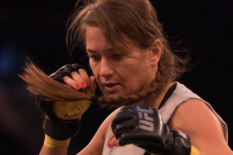 UFC strawweight Karolina Kowalkiewicz preps during an open
