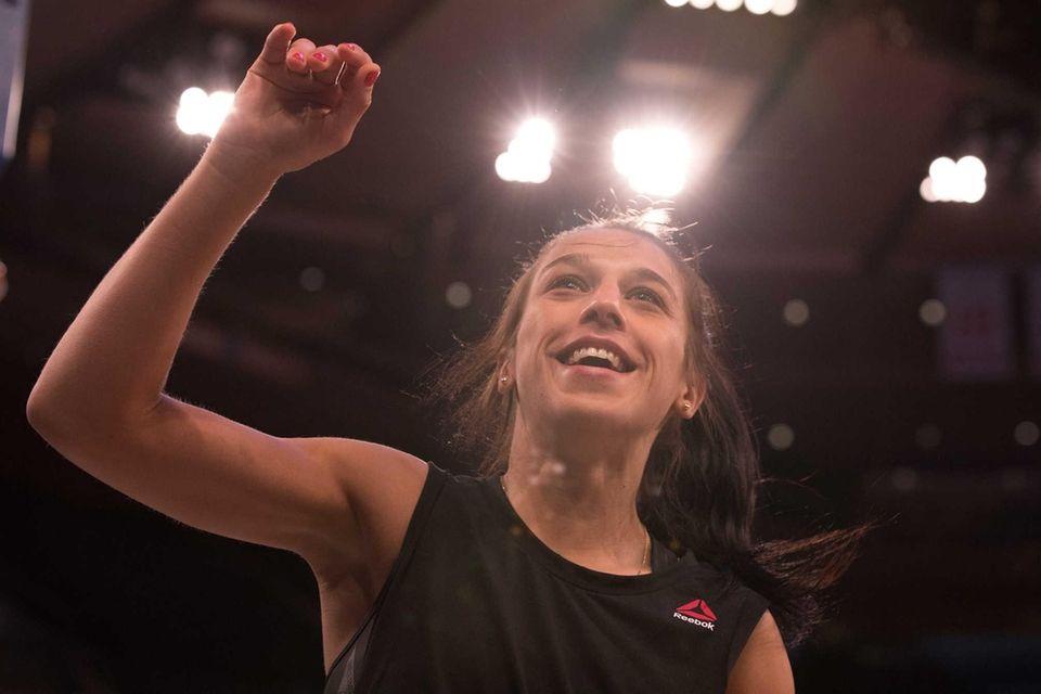 UFC strawweight champion Joanna Jedrzejczyk looks to the