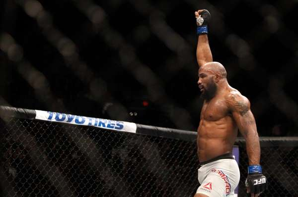 Yoel Romero celebrates after a middleweight fight against