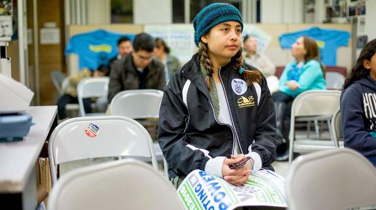 Michelle Contreras, 19, of Brentwood watches results come