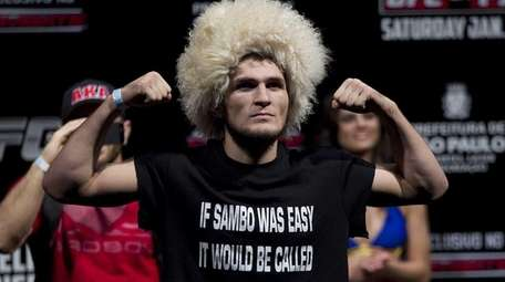 Fighter Khabib Nurmagomedov from the U.S. gestures as