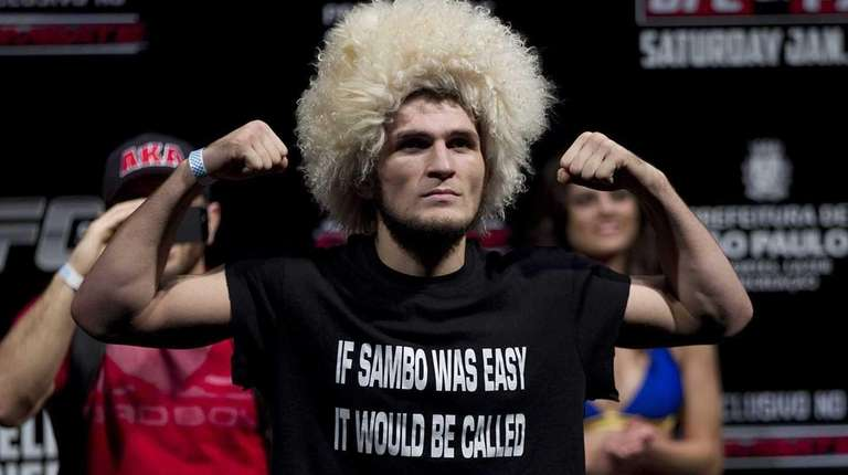 Fighter Khabib Nurmagomedov from the U.S. gestures as