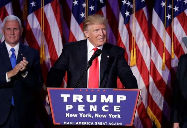 President-elect Donald Trump gives his acceptance speech during