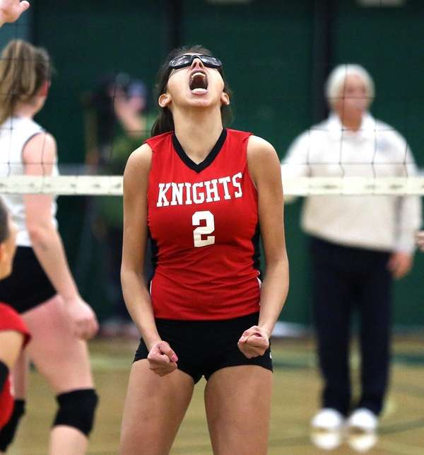 Floral Park's Faith Balletta reacts after the point