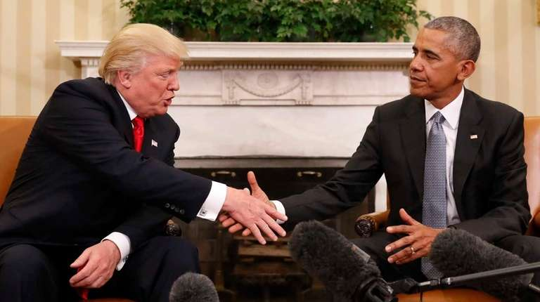 President Barack Obama shakes hands with President-elect Donald