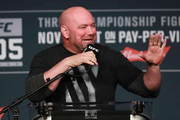 UFC president Dana White answers a question during