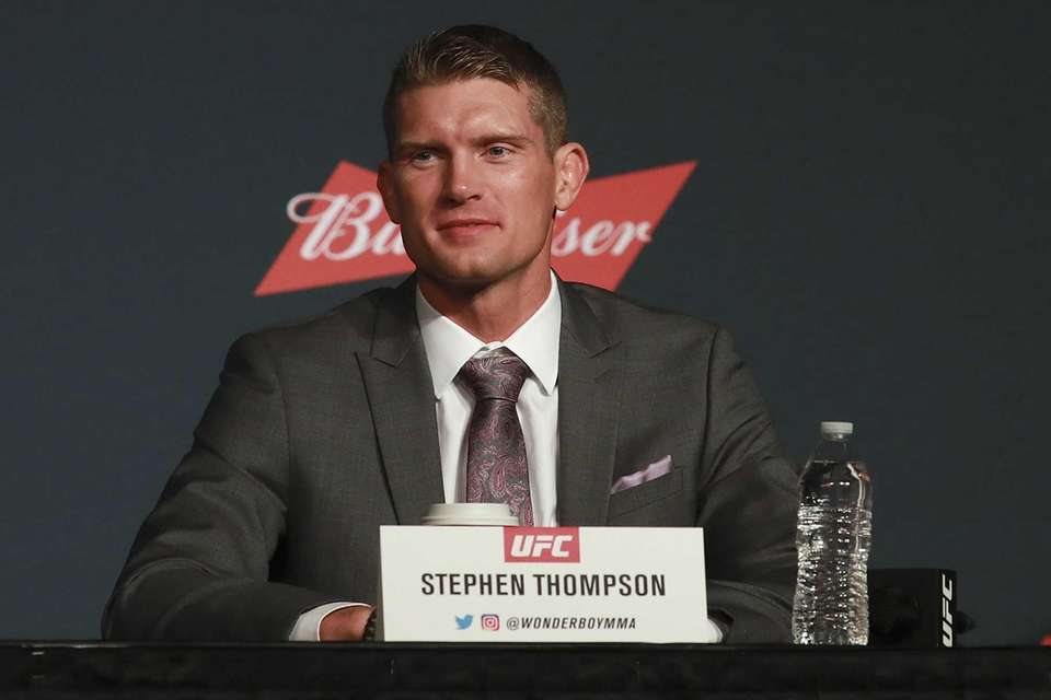 Stephen Thompson answers a question during the UFC