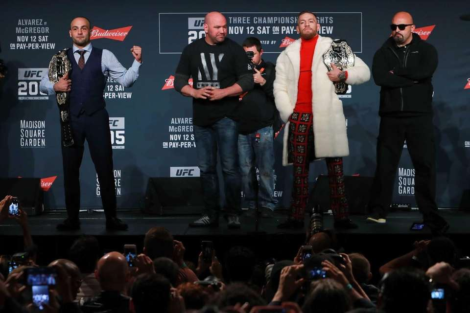 UFC lightweight champion Eddie Alvarez, left, and UFC