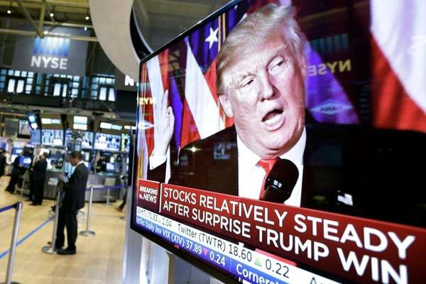 President-elect Donald Trump on a television screen