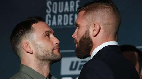 Frankie Edgar and Jeremy Stephens pose for a