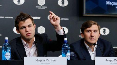 Magnus Carlsen, left, Norwegian chess grandmaster and current