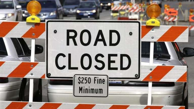 A road construction project backs up traffic in