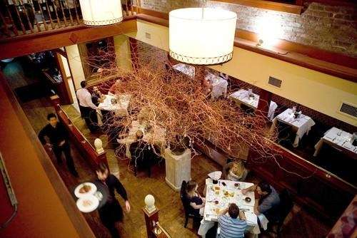 An aerial view of the dining room at