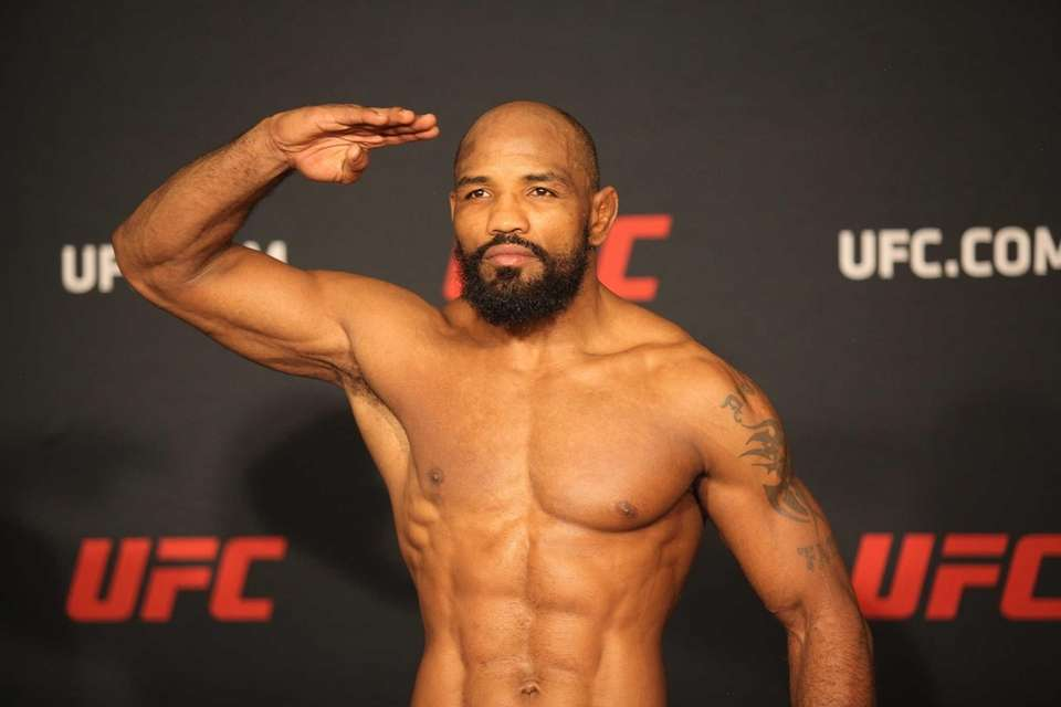 Yoel Romero at the early weigh-ins for UFC