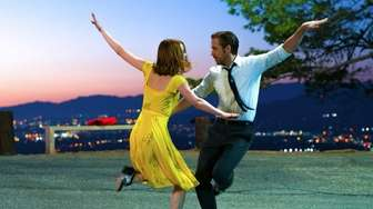Actors Emma Stone and Ryan Gosling in a