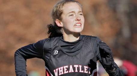 Wheatley's Brianna O'Brien looking down the finish line