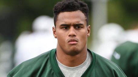 New York Jets' cornerback Dexter McDougle runs to