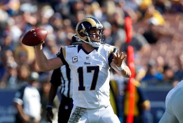 Los Angeles Rams quarterback Case Keenum passes during