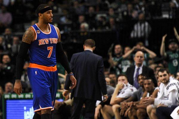 New York Knicks' forward Carmelo Anthony (7) walks